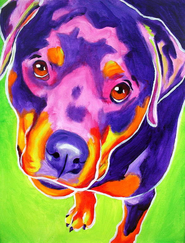 Dawgart Poster featuring the painting Rottweiler - Summer Puppy Love by Alicia VanNoy Call