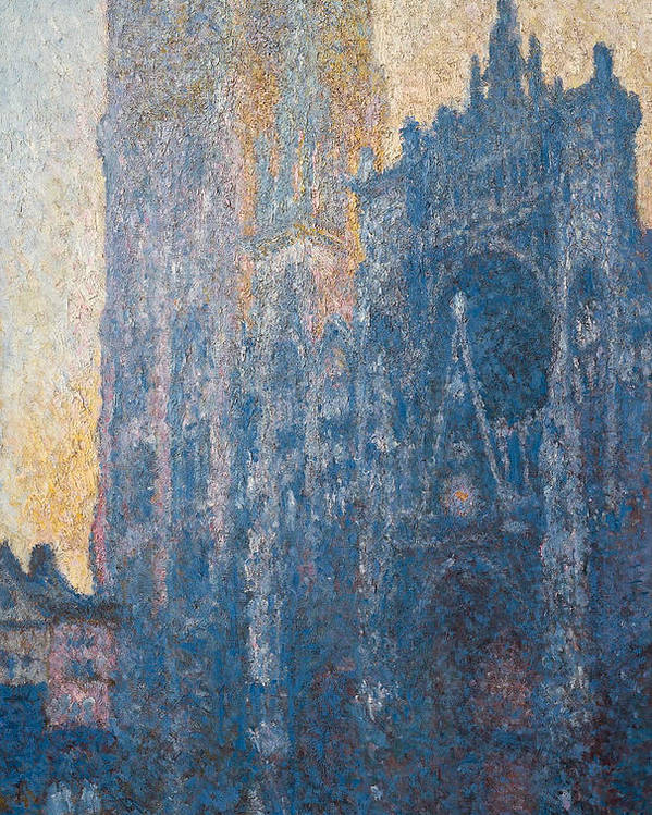 Architectural Poster featuring the painting Rouen Cathedral, The Portal, Morning by Claude Monet