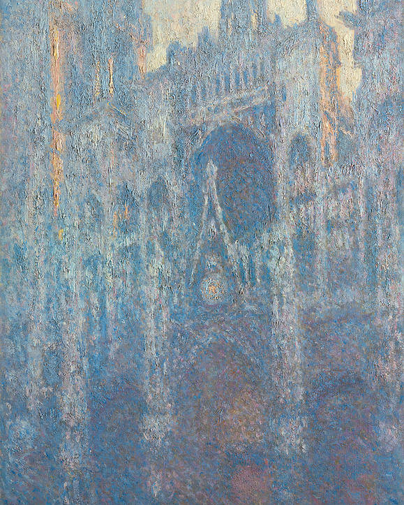 Architectural Poster featuring the painting Rouen Cathedral, The Portal, Morning Light by Claude Monet
