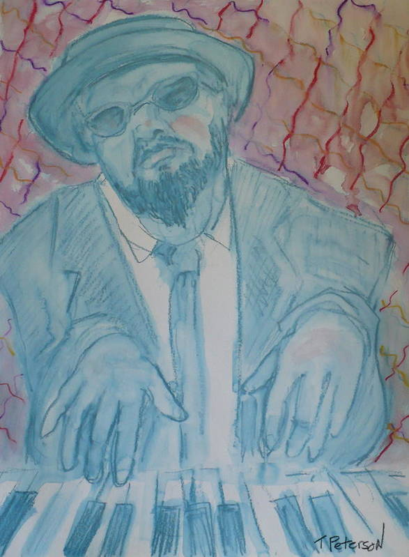 Thelonious Monk Poster featuring the painting Round Midnight by Todd Peterson