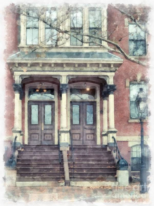 Town Poster featuring the painting Row House Providence Rhode Island by Edward Fielding