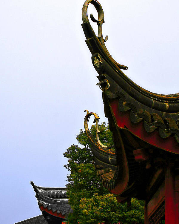 Curved Poster featuring the photograph Row Of Chinese Rooftops by Christine Till