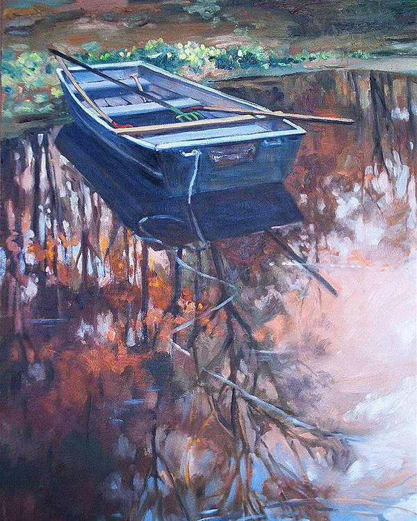 Water Poster featuring the painting Rowboat Ashore by Dianna Willman