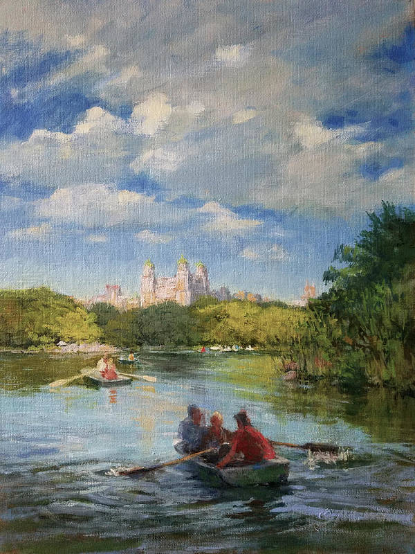 Urban Landscape Paintings Poster featuring the painting Rowing On The Lake, Central Park by Peter Salwen
