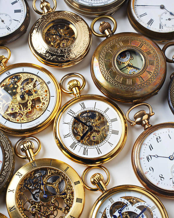 Time Poster featuring the photograph Rows Of Pocket Watches by Garry Gay
