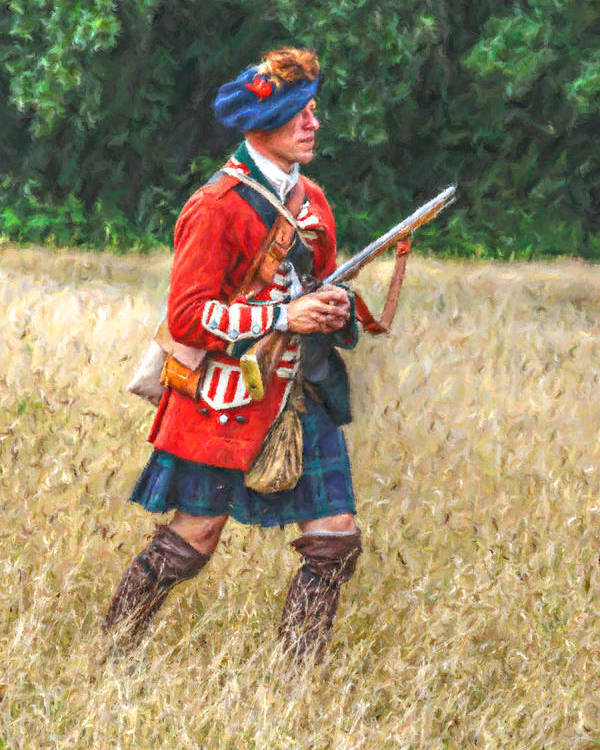 Uniform Poster featuring the digital art Royal Highlanders 77th Regiment Of Foot by Randy Steele