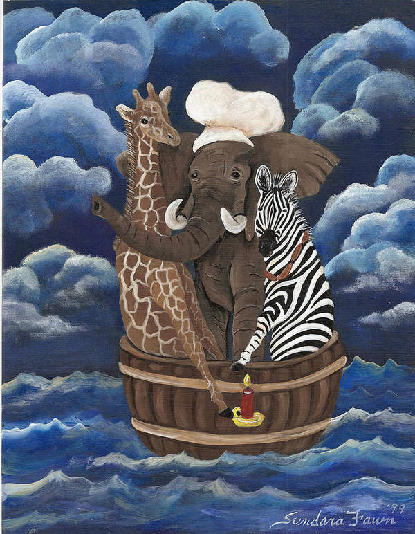 Zebra Poster featuring the painting Rub A Dub Dub by Sundara Fawn
