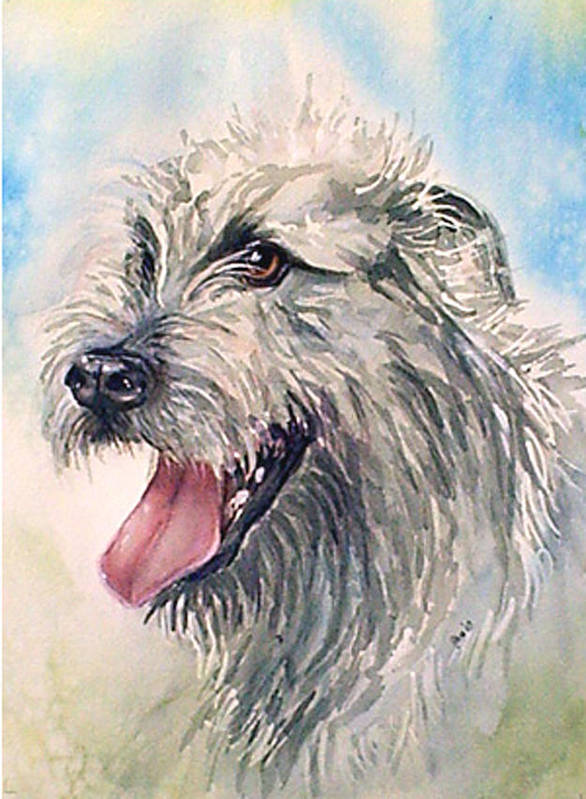 Canine Poster featuring the painting Ruffy by Gina Hall