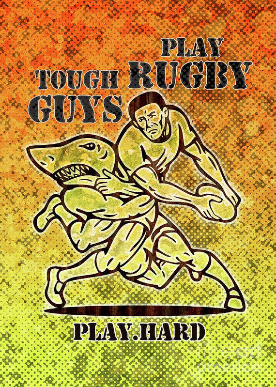 Rugby Poster featuring the digital art Rugby Player Running With Ball Attack By Shark by Aloysius Patrimonio