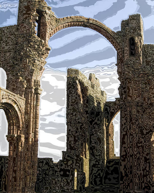 Monestary Poster featuring the glass art Ruins On The Holy Island by Carl Purcell