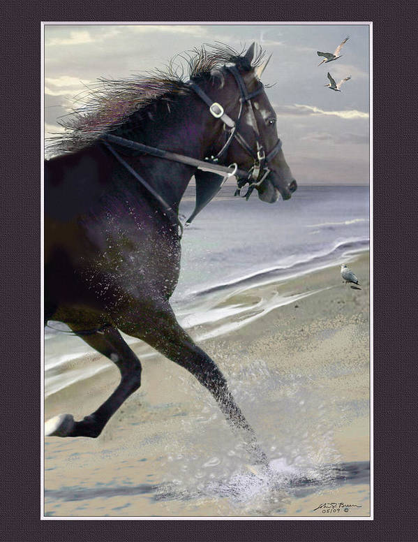 Horse; Race Horse; Animal Poster featuring the painting Runner Three by John Breen