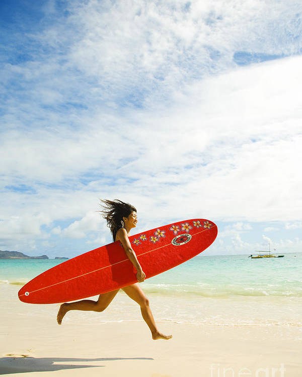 Afternoon Poster featuring the photograph Running With Surfboard by Dana Edmunds - Printscapes