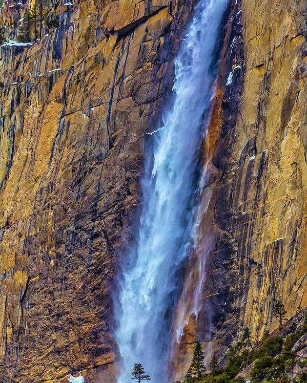 Upper Poster featuring the photograph Rushing Winter Upper Yosemite Falls by Garry Gay