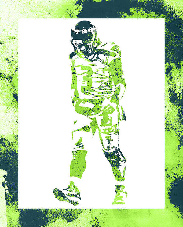 Russell Wilson Poster featuring the mixed media Russell Wilson Seattle Seahawks Water Color Art 2 by Joe Hamilton
