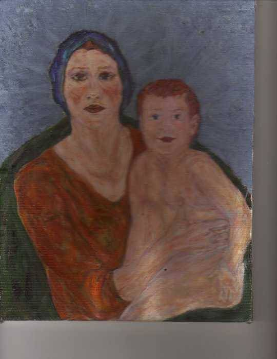 Strong Poster featuring the painting Russian Mother With Child by Nancy Caccioppo