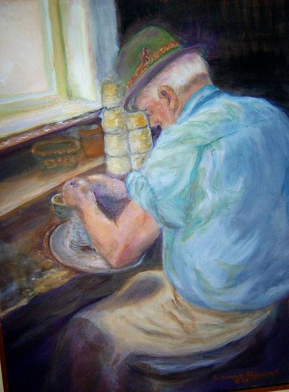 Portrait Poster featuring the painting Russian Potter by Suzanne Reynolds