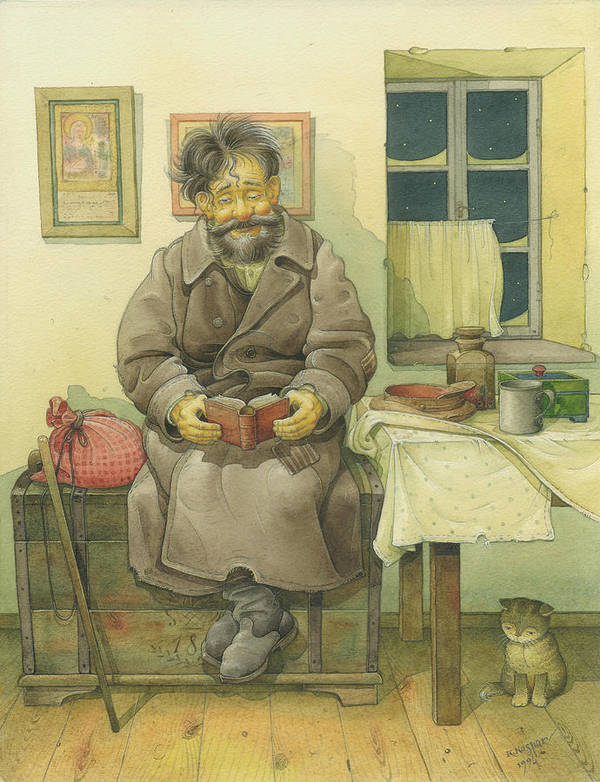 Russian Winter Poster featuring the painting Russian Scene 03 by Kestutis Kasparavicius