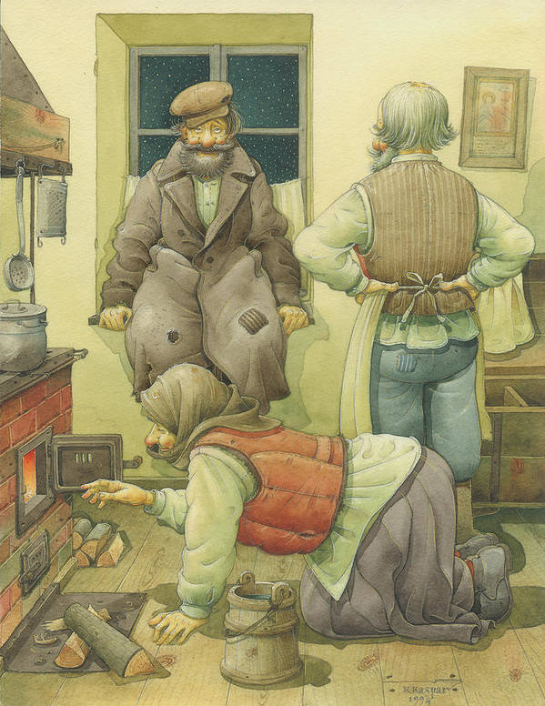 Russian Winter Poster featuring the painting Russian Scene 05 by Kestutis Kasparavicius