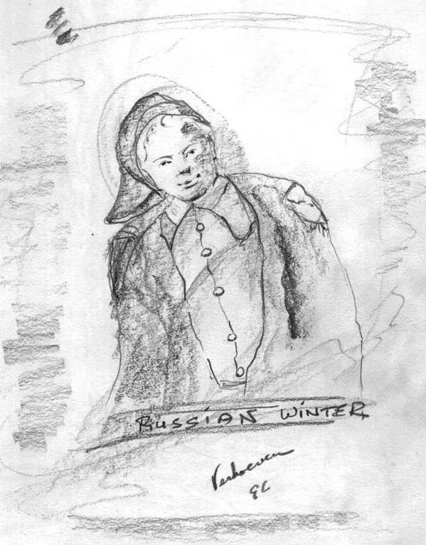 Person Signafying Season Poster featuring the drawing Russian Winter by Alfred P Verhoeven