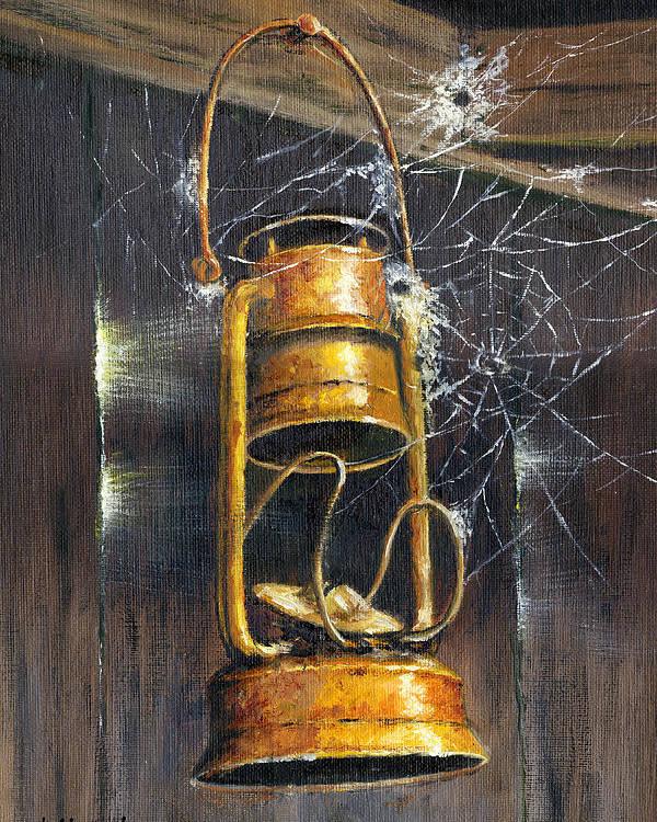 Bob Hallmark Poster featuring the painting Rusty Lantern by Bob Hallmark