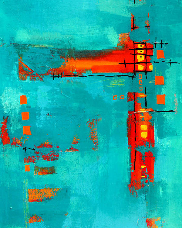 Turquoise Abstract Poster featuring the painting Rusty by Nancy Merkle