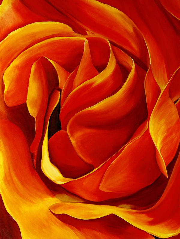 Macro Rose Poster featuring the painting Sabrina's Rose by Julie Pflanzer