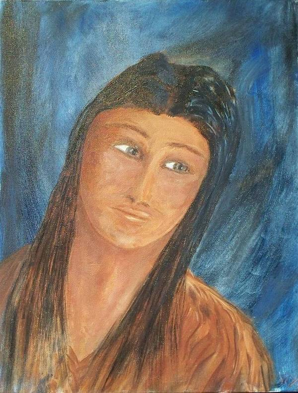 Portrait Poster featuring the painting Sacagawea by Larry Verch