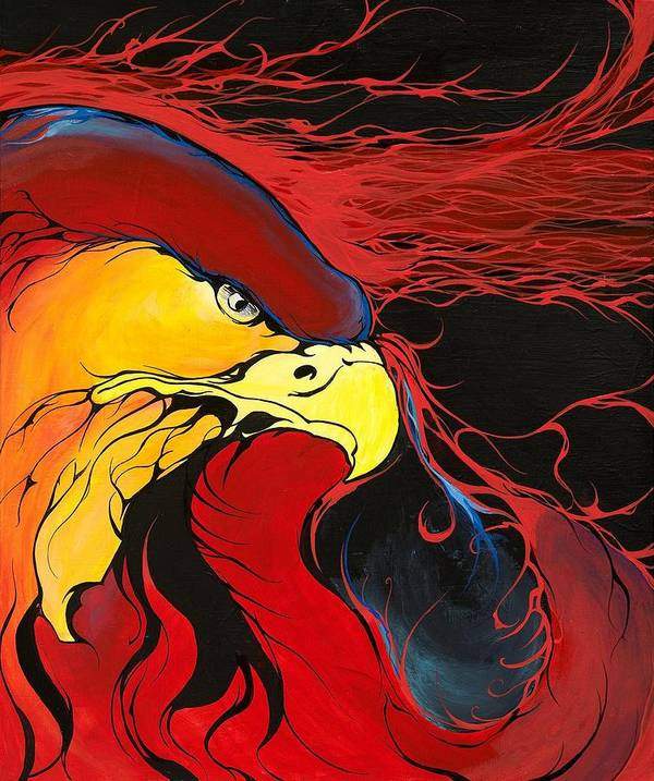 Eagle Poster featuring the painting Sacred Eagle by Dallas Poundmaker