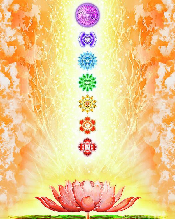 Sacred Lotus The Seven Chakras Poster By Dirk Czarnota
