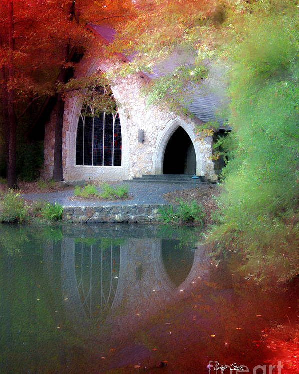 Landscape Fall Church Trees Reflection Sacred Poster featuring the painting Sacred Silence by Carolyn Staut
