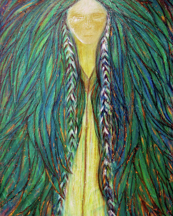 Sacred Teacher Poster featuring the painting Sacred Teacher by NARI - Mother Earth Spirit