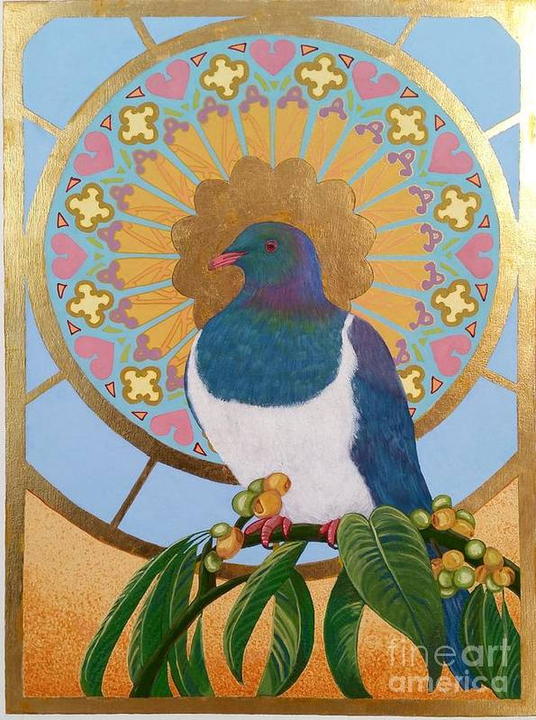 Poster featuring the painting Sacred Wood Pigeon by Anahata Ishaya