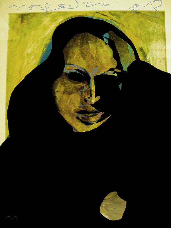 Woman Poster featuring the painting Sadness by Noredin Morgan