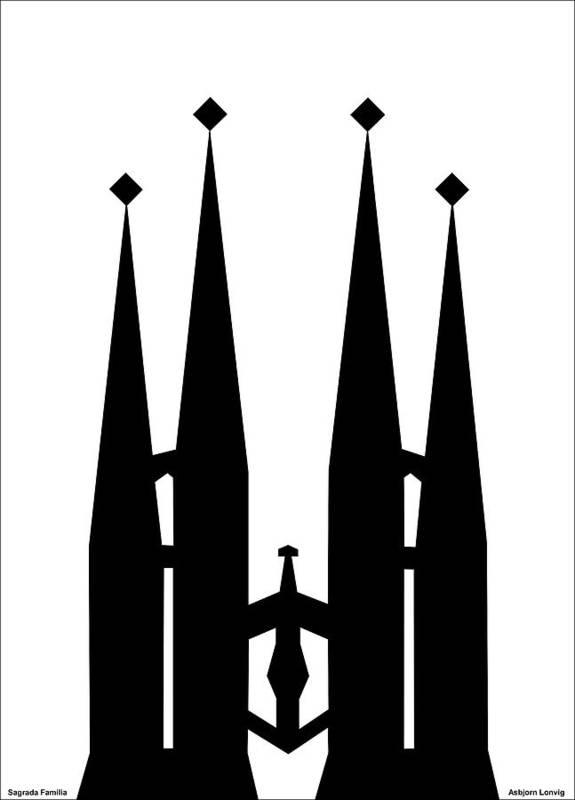 Sagrada Familia Poster featuring the digital art Sagrada Familia by Asbjorn Lonvig