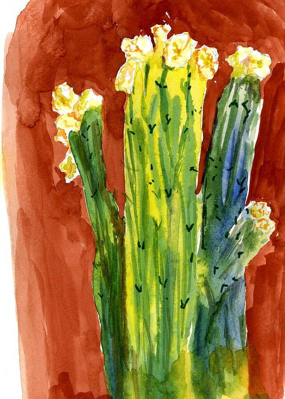 Bright Poster featuring the painting Saguaros And Their Hats by Marilyn Barton