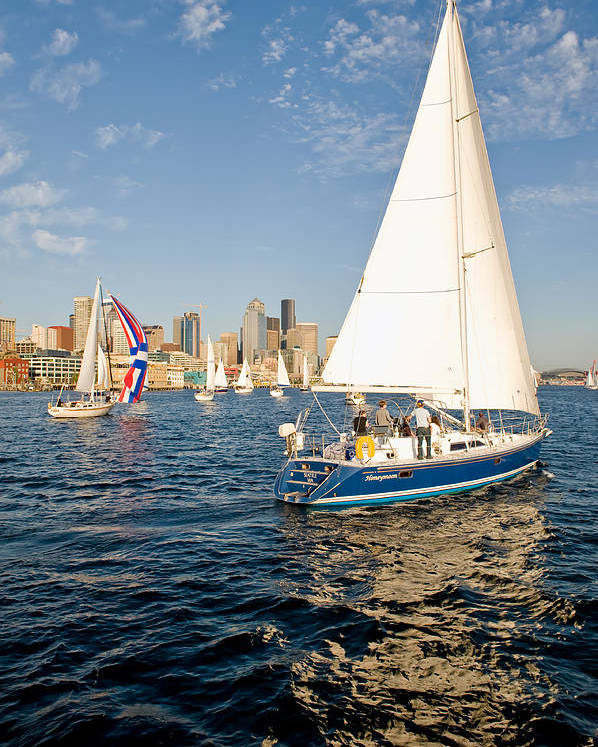 Seattle Poster featuring the photograph Sail Away by Tom Dowd
