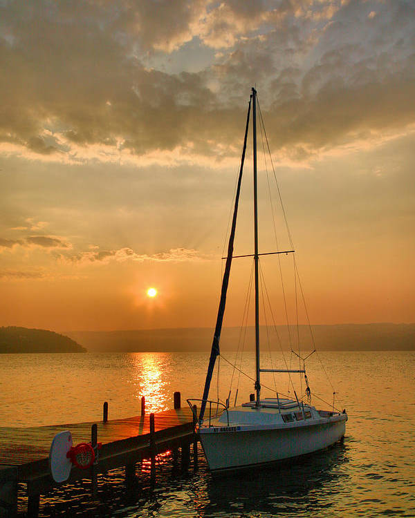 Dawn Poster featuring the photograph Sailboat And Sunrise by Steven Ainsworth