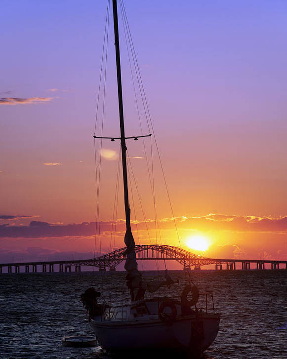 Sailing Poster featuring the photograph Sailboat And The Bridge At Sunrise by Vicki Jauron