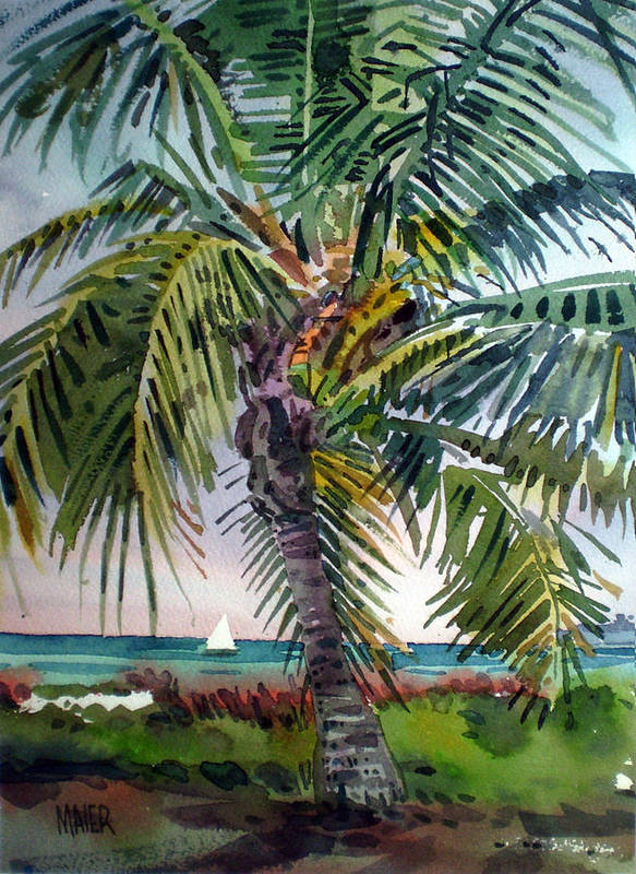 Palm Tree Poster featuring the painting Sailboat in the Keys by Donald Maier