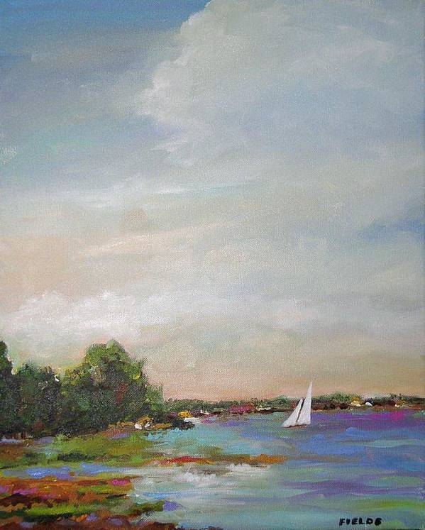 Lake Poster featuring the painting Sailboat Painting Meet You There by Karen Fields