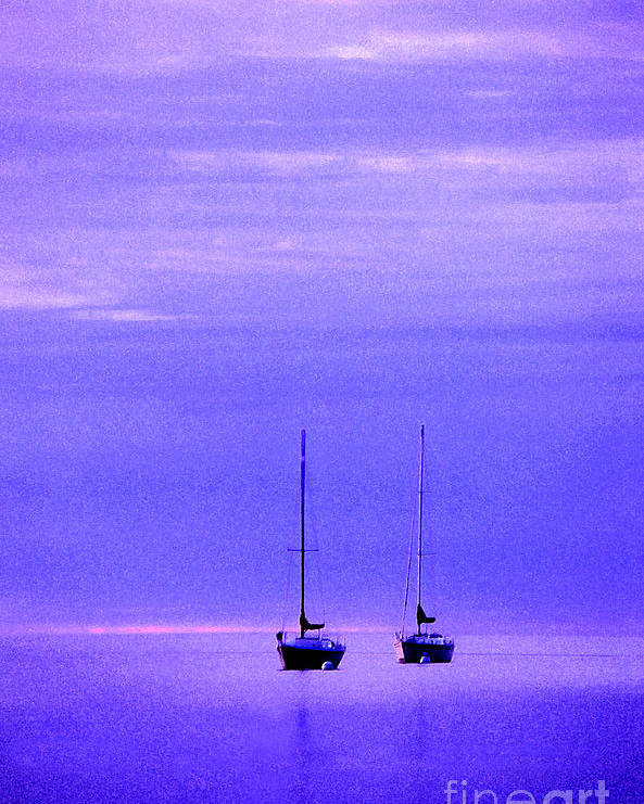 Sailboats Poster featuring the photograph Sailboats In Blue by Timothy Johnson