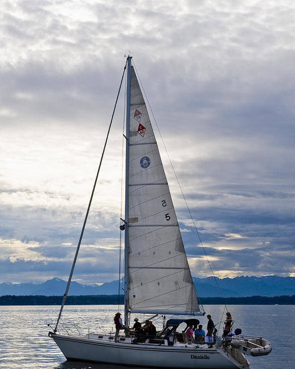 Seattle Poster featuring the photograph Sailing At Dusk by Tom Dowd