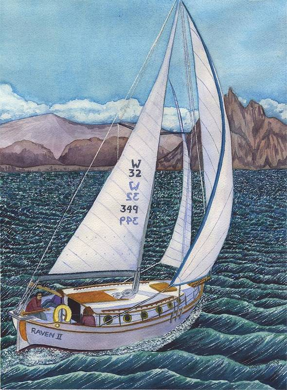 Sailboat Poster featuring the painting Sailing by Catherine G McElroy
