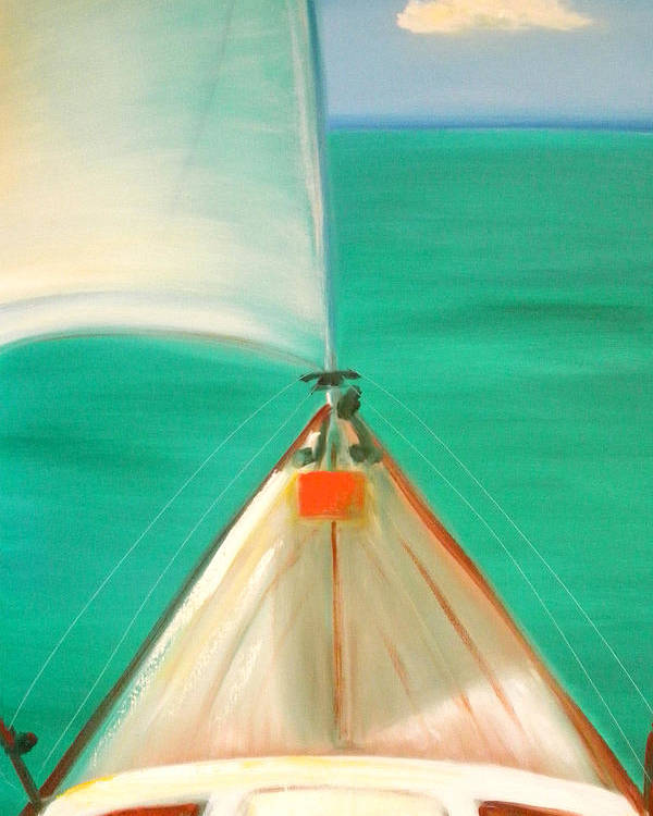 Sea Poster featuring the painting Sailing by Gina De Gorna