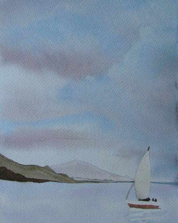 Sailboat Poster featuring the painting Sailing by Liz Vernand