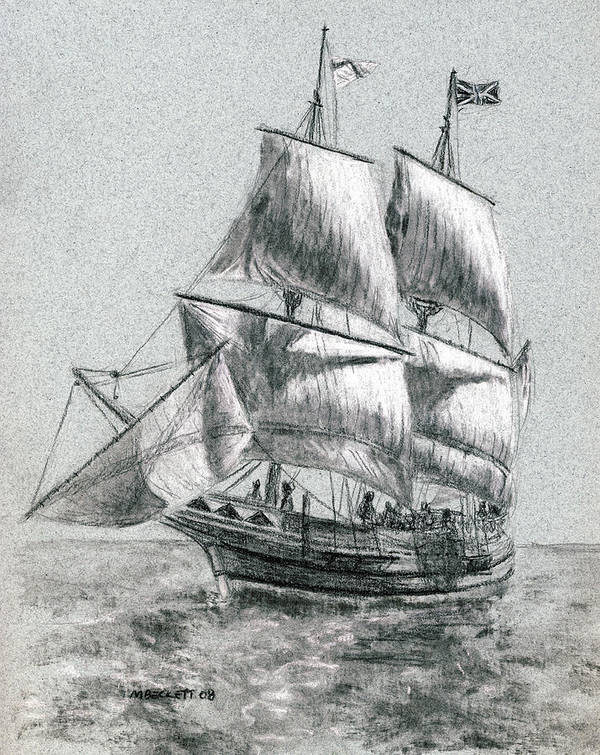Seascape Poster featuring the drawing Sailing by Michael Beckett