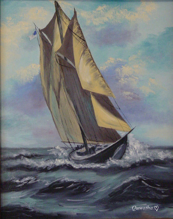 Ocean Poster featuring the painting Sailing by Quwatha Valentine