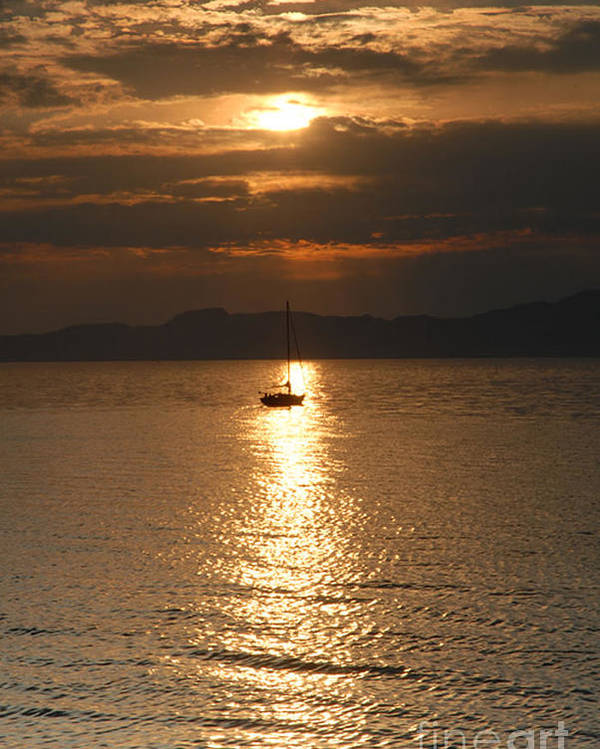 Great Salt Lake Poster featuring the photograph Sailing The Great Salt Lake At Sunset by Dennis Hammer