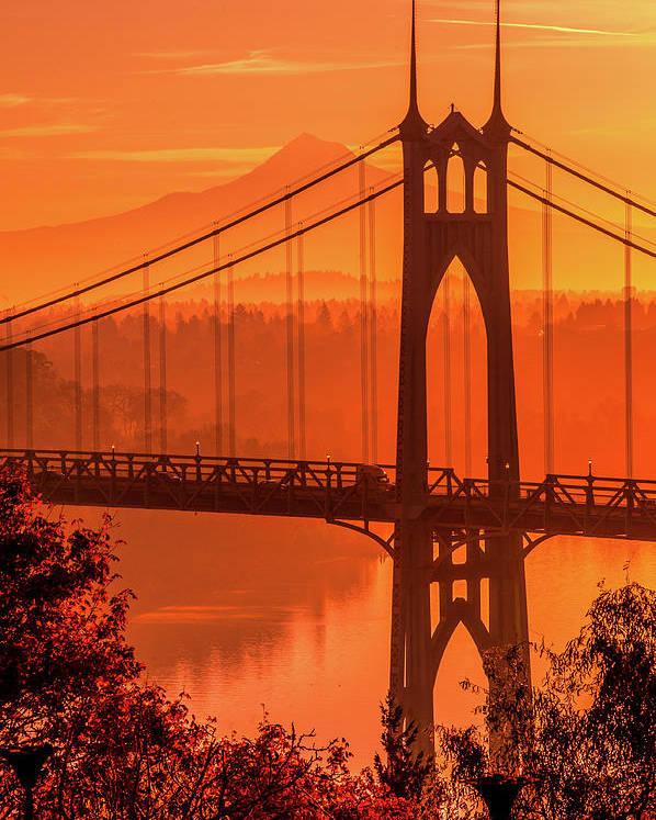 Poster featuring the photograph Saint John's Bridge At Sunrise by Landon Spady