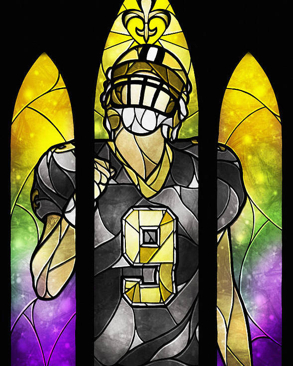 Drew Brees Poster featuring the digital art Saint Brees by Mandie Manzano